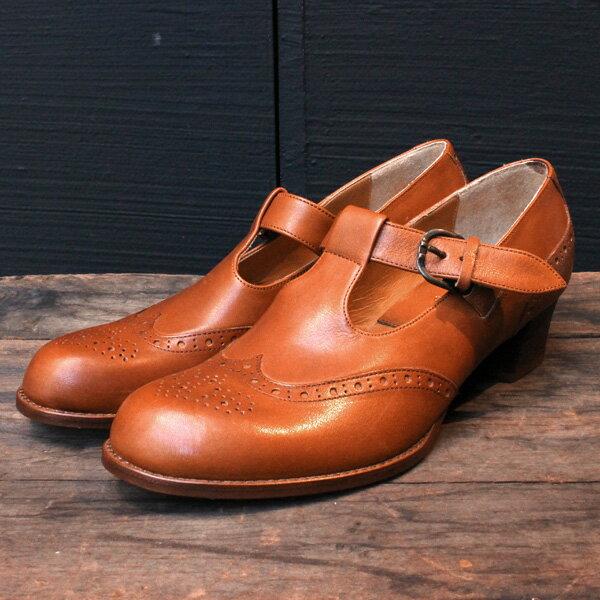 【送料無料】chausser/ショセ C2234ベルト付きメダリオンパンプスブラウン|ground|靴|