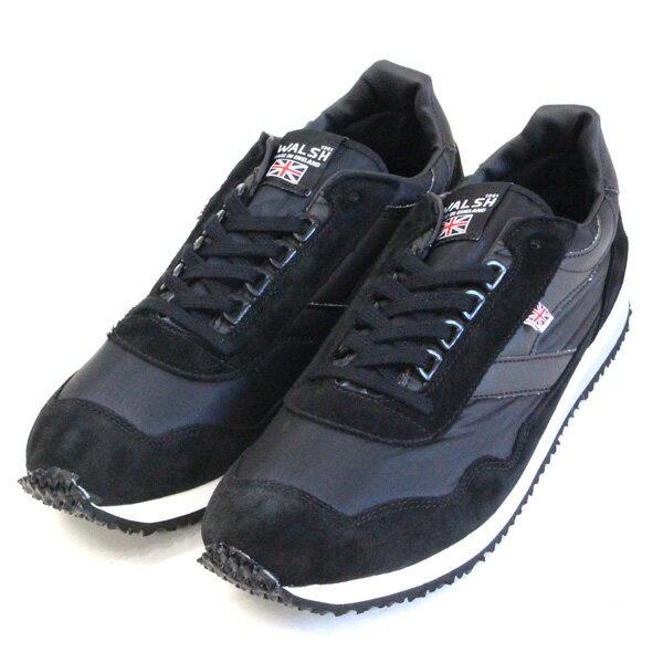 【定価\24,000→\16,800】WALSH/ウォルシュ ENSIGN ナイロン×スエード メンズスニーカー ブラック |ground|靴|【返品交換不可】