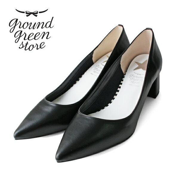 ground green store/グラウンドグリーンストア GR1170 チャンキーヒールプレーンパンプス ブラック|ground|靴|