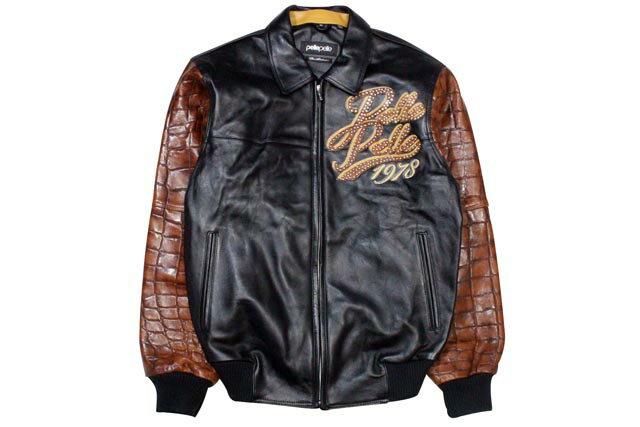 PELLE PELLE EXOTIC LEATHER JACKET (21531: BLACK PLUSH/CHESTNUT LARGE CROC)ペレペレ/レザージャケット/黒