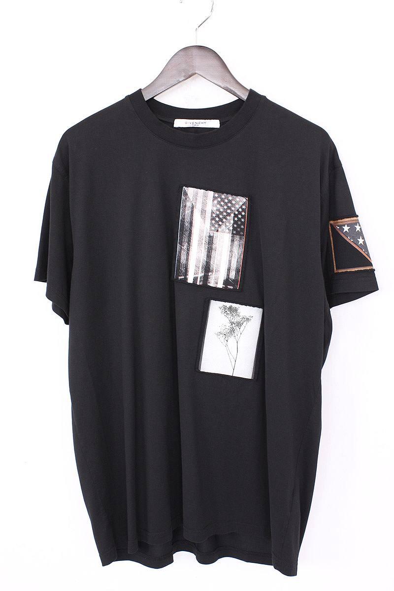 ジバンシィ/GIVENCHY 【16AW】アメリカンフラッグワッペン付きTシャツ(S/ブラック)【10】【メンズ】【908071】【中古】[5倍]bb50#rinkan*A