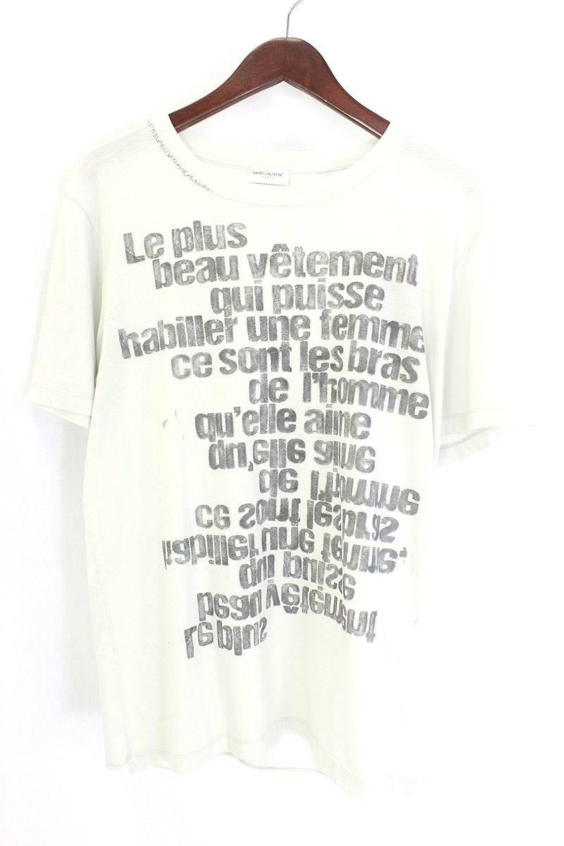 サンローランパリ/SAINT LAURENT PARIS 【17AW】クラッシュ加工英字プリントTシャツ(S/ライトグレー調)【11】【メンズ】【528071】【新古品】[5倍]bb20#rinkan*N
