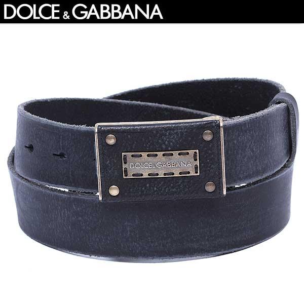 【送料無料】 ドルチェアンドガッバーナ(DOLCE&GABBANA) メンズ ヴィンテージ加工 レザーバックル ベルト BC3807 A1162 80999 ブラック(黒)  【smtb-TK】  13A