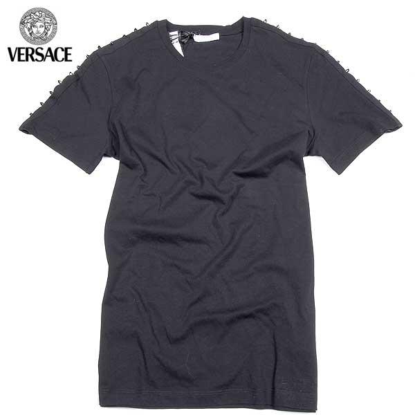 【送料無料】 ヴェルサーチコレクション(VERSACE) メンズ スタッズ 半袖Tシャツ V800673 VJ00180 V1008  【楽ギフ_包装】【SALE1602】  61S