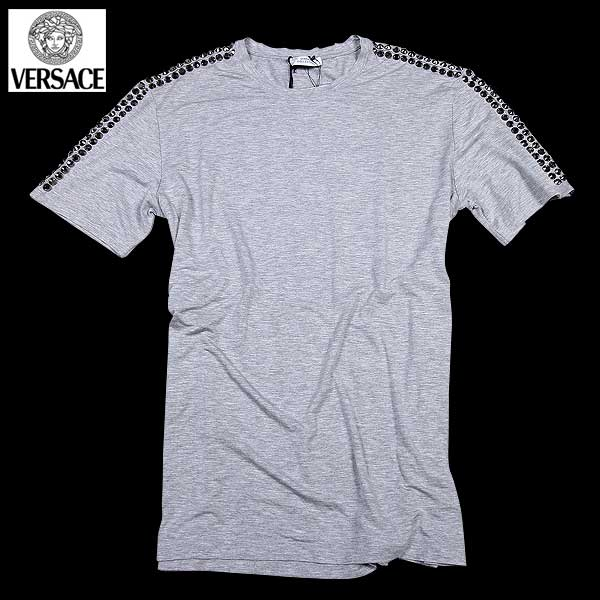 【送料無料】 ヴェルサーチコレクション(VERSACE) メンズ スタッズ クルーネック 半袖Tシャツ V800707 VJ00205 V8019  【楽ギフ_包装】【SALE1607】  61S