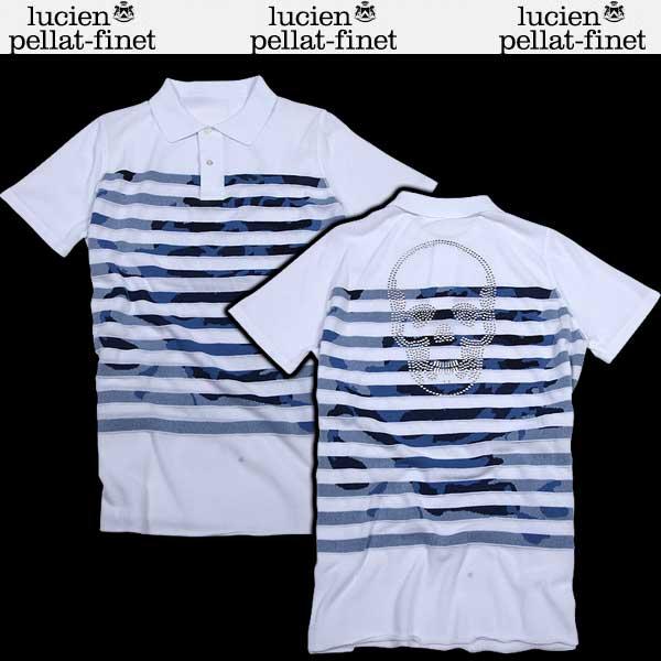 【送料無料】 ルシアン ペラフィネ(lucien pellat-finet) メンズ 半袖ポロシャツ AT2205H  WHITE(A0001)/COL2(BLUE)  【楽ギフ_包装】【SALE1604】  DB61S