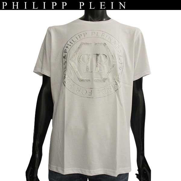 【送料無料】  フィリッププレイン(PHILIPP PLEIN)  メンズ クルーネック 半袖Tシャツ F17C MTK1000 PJY002N T-shirt Round Neck SS Teruvo 01 white  【楽ギフ_包装】【smtb-tk】 71A