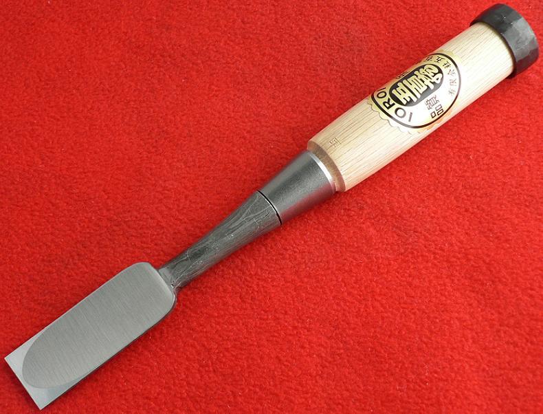 ■播州三木 五百蔵作 追入鑿 白樫 芯持ち柄 24mm 木目仕上 のみ