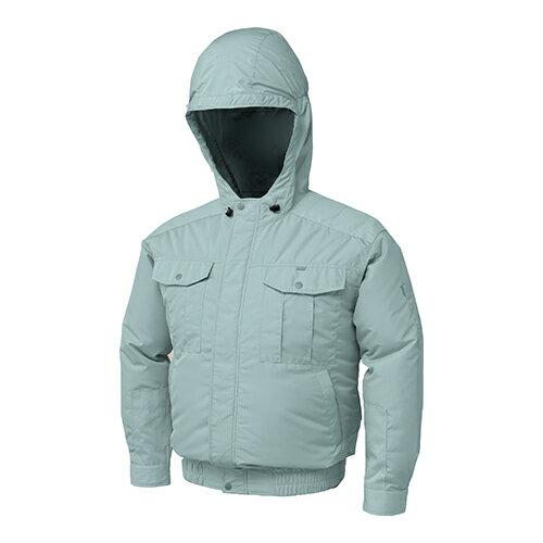 空調服:フード付チタン肩当有NSP空調服(ウェア・ファン2個・ケーブル・バッテリーセット) 型式:BNB-101 モスグリーンXL