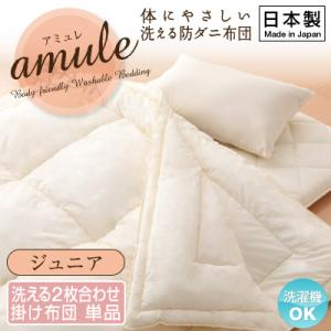 【日本製】体に優しい 洗える防ダニ布団【amule】アミュレ 2枚合わせ掛け布団単品 ジュニア