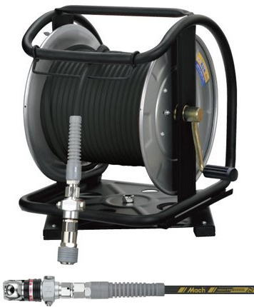 [マッハMach]フジマック 高圧用C型ステンレスドラム 回転台付 スーパースムージーホース スウィングダスターソケット付 GHDALB-530TC-S