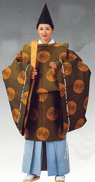 狩衣(かりぎぬ) 平安時代コスチューム 神官衣裳~ シンプル 無地 【日本舞踊】 【時代衣裳束】 【時代装束】 上下番の鶴、金茶、緑系