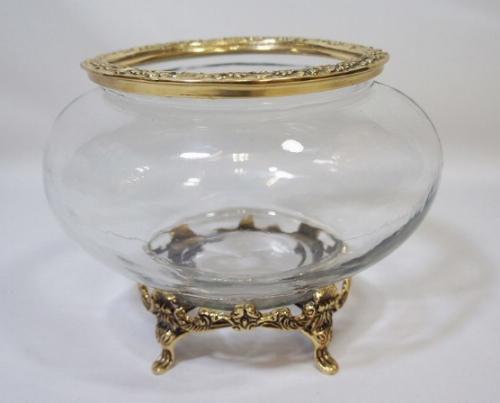 【送料無料】クラシック小物入れ(真鍮×ガラス) アンティーク おしゃれ プレゼント ギフト 置物 ガラス 小物入れ 花瓶