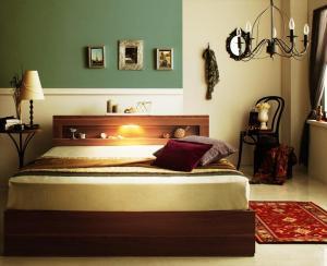 ダブルベッド 収納付き マットレス付き 国産ポケットコイル LED照明・コンセント・収納ベッド