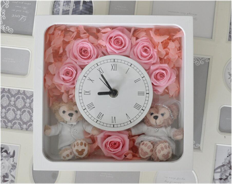送料無料!結婚祝いにいかが??ディズニーシー★ダッフィー&シェリーメイがついた時計。掛け時計としても、置時計としてもつかえます。プレゼントにおすすめ!プリザーブドフラワー