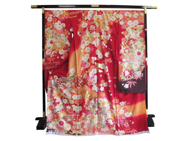 振袖桜や牡丹や松や紅葉(赤)