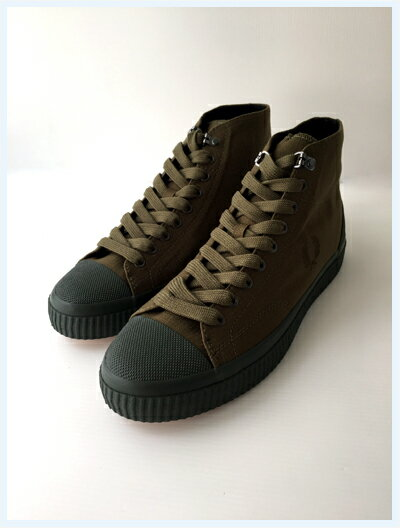 FRED PERRY(フレッドペリー)/スニーカー(HUGHES MID SHWR RESISTANT CANVAS) Dark Olive -国内送料無料-
