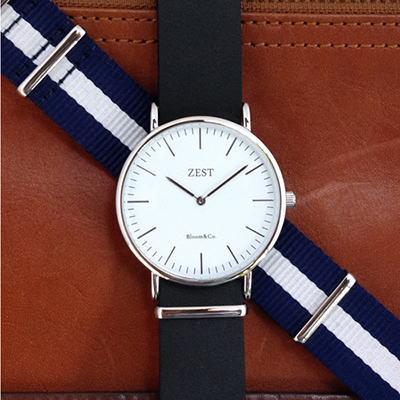 送料無料【ZEST 腕時計】フォーマルな本革ストラップからカジュアルなナイロンストラップに工具を使うことなく簡単に取り替えられます!