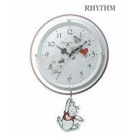 リズム時計 振り子時計/くまのプーさん 8MX407MC03 白パール色(白)ご注文後3~4営業日後の出荷となります
