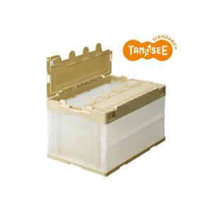 (まとめ)TANOSEE 折りたたみコンテナ 50L 透明 フタ付 10台