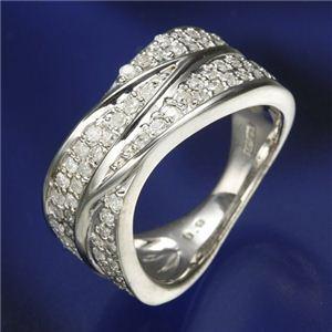 完璧なデザイン 0.6ctダイヤリング 指輪  ワイドパヴェリング 15号