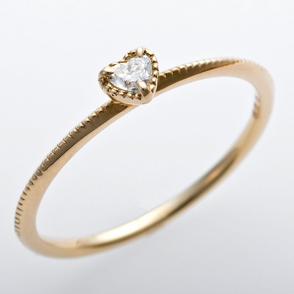 K10イエローゴールド 天然ダイヤリング 指輪 ダイヤ0.05ct 11.5号 アンティーク調 プリンセス ハートモチーフ