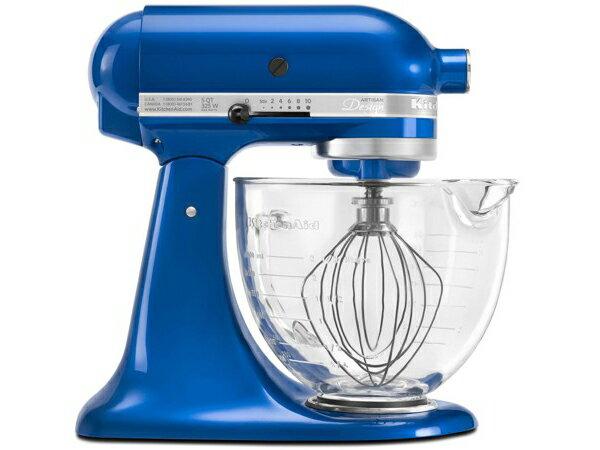 【2-5年保証・日本語訳・変換プラグ付】 KitchenAid キッチンエイド 5QTガラス製ボウル・スタンドミキサー (エレクトリック・ブルー) 【アルチザンシリーズ】 おすすめです♪
