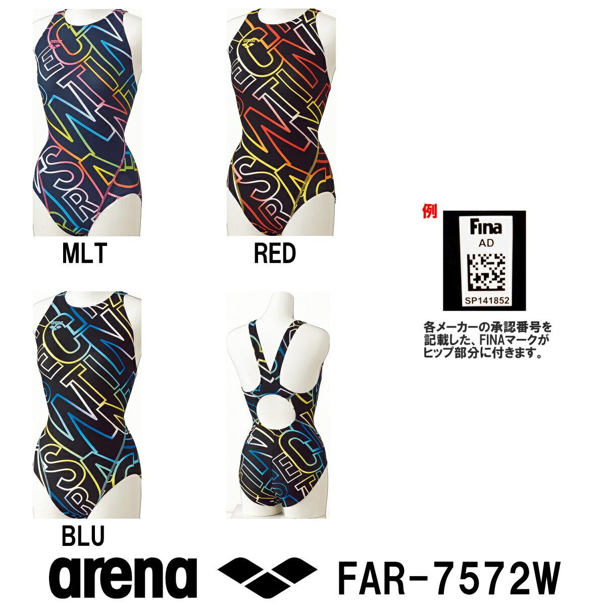 【FAR-7572W】ARENA(アリーナ) レディース競泳水着  UROKO SKIN セーフリーバック(着やストラップ)[競泳水着/女性用/ワンピース/FINA承認]