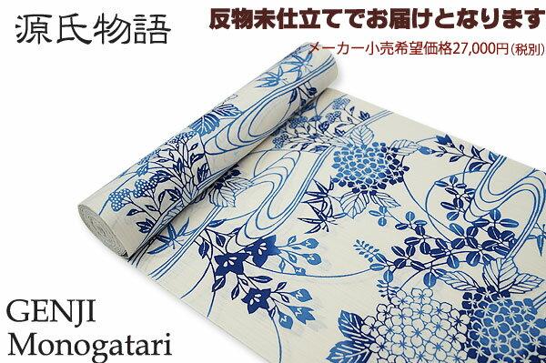 源氏物語-紅型調浴衣 綿70%麻30%反物久-2 【送料無料】