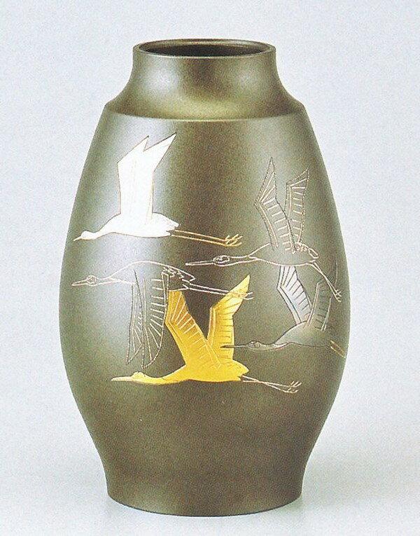高岡銅器の銅製花瓶/鼓型 鶴象嵌9号 中谷秀山作品/桐箱付