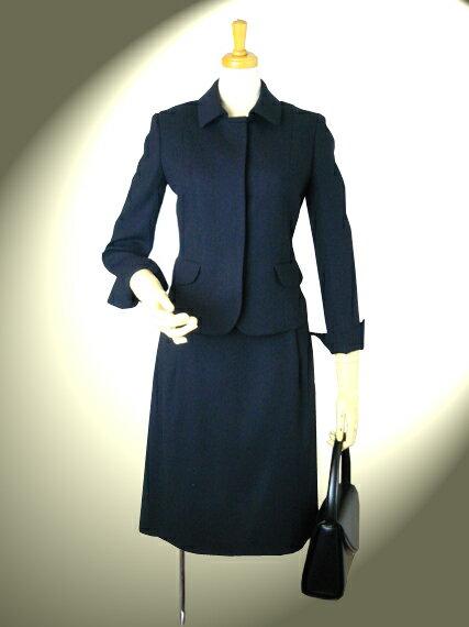 ダブルクロス 比翼ショールカラージャケットとスカートのスーツ【ロイヤルメード カラー 紺】7号