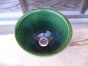 真山窯 陶芸手洗い鉢 織部 24cm 小