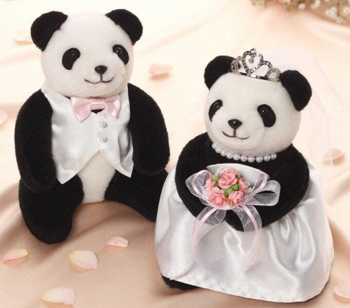 パンダのウェルカムドール(ピンクブーケ)完成品(ティアラ付き)【結婚式 パンダのぬいぐるみ ウェディングパンダ】
