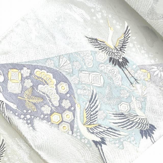 袋帯 リサイクル 中古 正絹 結婚式 ふくろおび 錦織 鶴文様 宝尽し文様 シルバー系 ii4295b