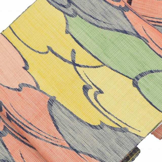 【リサイクル 名古屋帯】/中古/正絹/八寸/なごやおび/紬地/雲文様/黄系/jj0192b【着物 リサイクル アンティーク 中古 】【着物ひととき】