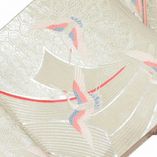 袋帯 リサイクル 中古 正絹 ふくろおび 西陣 鶴文様 束ね熨斗文様 シルバー系 jj0193b
