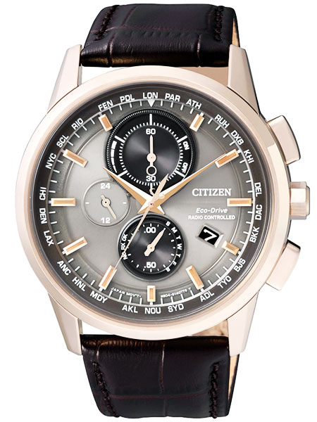 シチズン CITIZEN エコドライブ ソーラー 電波腕時計 サファイアガラス 本革 AT8113-12H