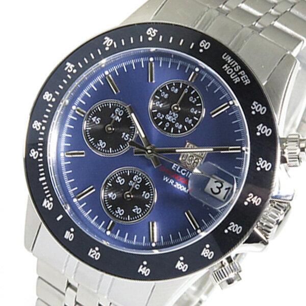 エルジン ELGIN クロノ クオーツ メンズ 腕時計 FK1408S-BLN ネイビー