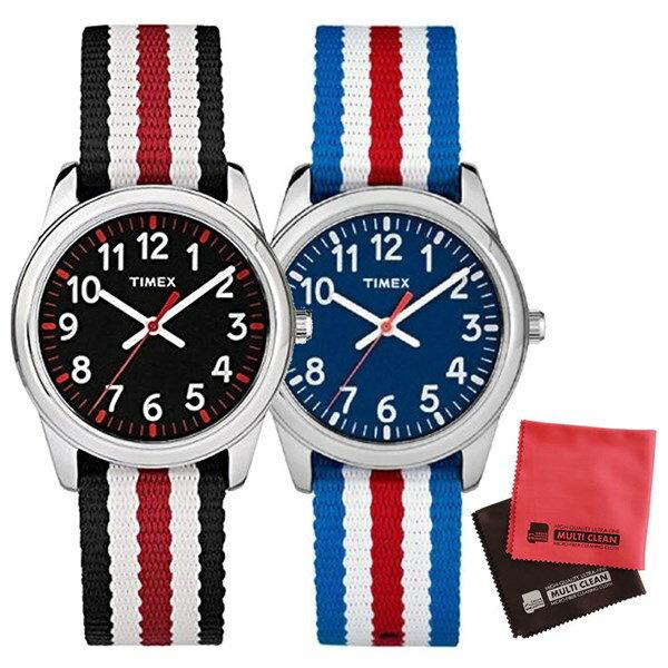 【親子・女子ペアウオッチ・クロス2枚セット】【正規輸入品】[タイメックス]TIMEX タイムティーチャー 腕時計 31mm(キッズ・レディスサイズ) TW7C09900 Blue&TW7C10200 Black