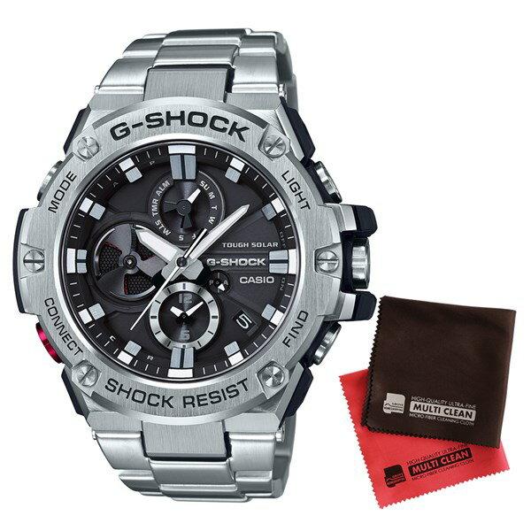 【9月新商品】【9月15日発売予定】【セット】【国内正規品】[カシオ]CASIO 腕時計 GST-B100D-1AJF [ジーショック]G-SHOCK メンズ Bluetooth対応 G-STEEL クロノグラフ[GSTB100D1AJF]&クロス2枚セット【ステンレスバンド ソーラー 多針アナログ表示】