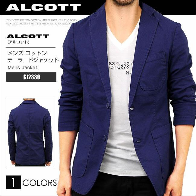 ALCOTT アルコット コットン ジャケット メンズ テーラード ストレッチジャケット GI2336 AC41042 大きいサイズ 正規品プレゼント ギフト