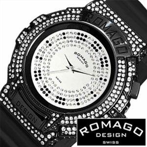 bf3a8b0dd8 【正規品】 ロマゴデザイン 腕時計 ROMAGO DESIGN 時計 ロマゴ トレンド [ Trend ] メンズ レディース シルバー  RM025-0256PL-BKBK [ アナログ クリスタル ストーン ...