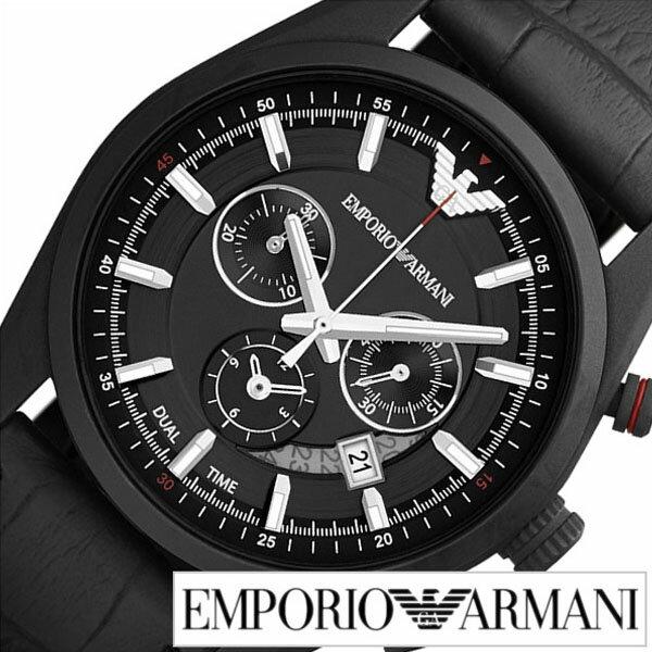 エンポリオ アルマーニ 腕時計 アルマーニ 時計 [ EMPORIO ARMANI ] エンポリオアルマーニ スポーティボ Sportivo メンズ ブラック AR6035 [ クロノ グラフ 革 ベルト 人気 ブランド エンポリ ]