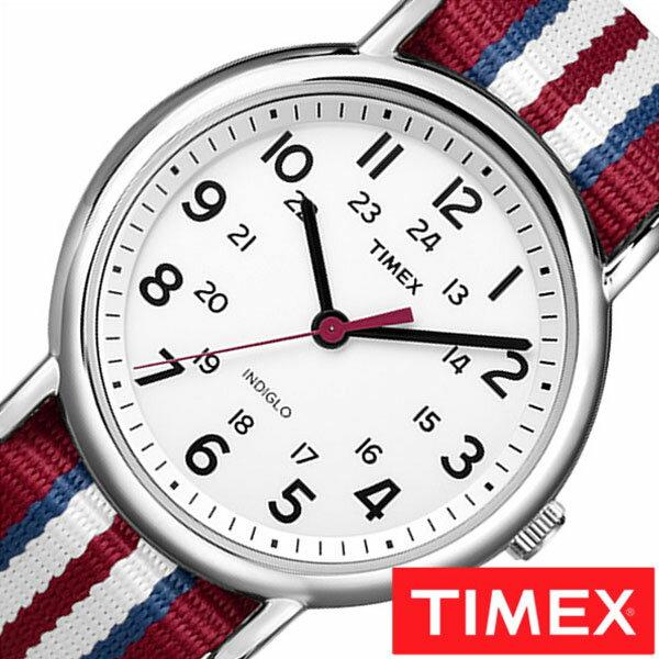 【正規品】【5年延長保証】 タイメックス腕時計 [ TIMEX時計 ]( TIMEX 腕時計 タイメックス 時計 ) ウィークエンダー セントラル パーク フル サイズ ( Weekender Central Park FULL SIZE ) メンズ 腕時計 ホワイト T2N746 [ NATO ベルト ナトー シルバー レッド ]