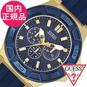 【5年延長保証】 ゲス 腕時計 [ GUESS時計 ]( GUESS 腕時計 ゲス 時計 ) フォース ( FORCE ) メンズ ブルー W0674G2 [ シリコン ベルト 正規品 新品 ファッション ウォッチ ゴールド ネイビー ]