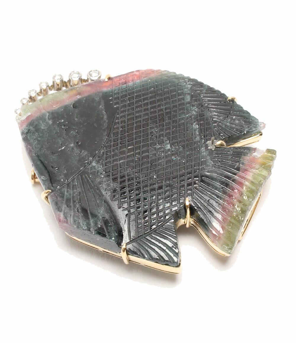 K18YG Pt 天然 トルマリン パーティーカラー 68.73ct ダイヤ 0.124ct 熱帯魚モチーフ ブローチ レディース 【中古】