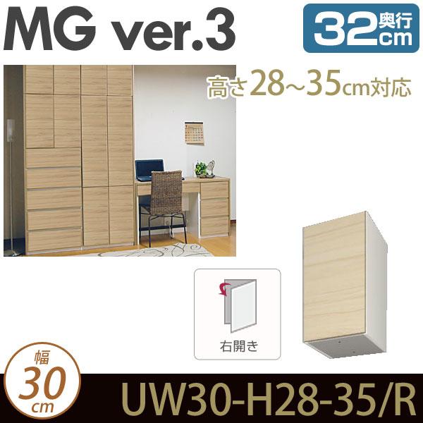 壁面収納 キャビネット 【 MG3 】  上置き 幅30cm 奥行32cm 高さ28-35cm(右開き) D32 UW30 H28-35/R MGver.3 【送料無料】【代引不可】【受注生産品】