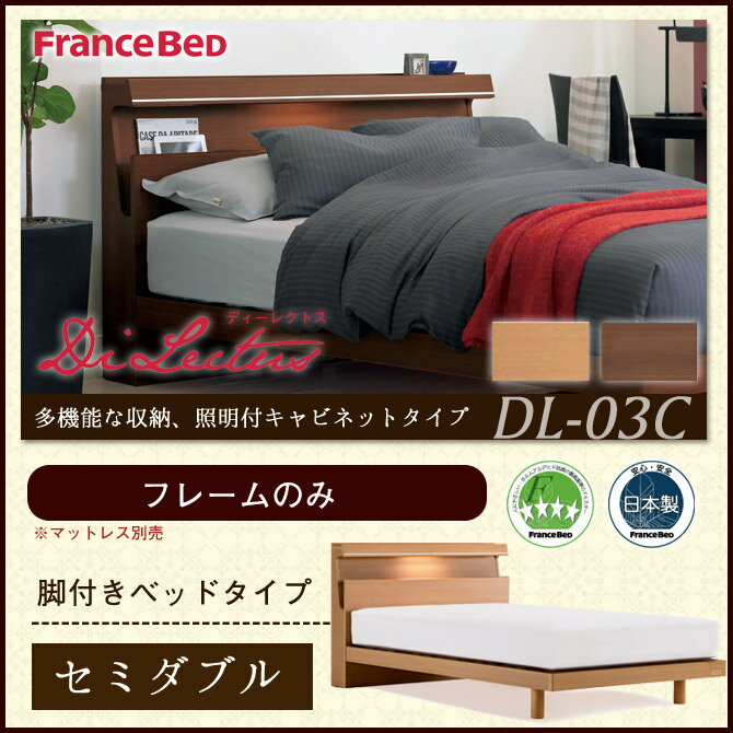 ベッド セミダブル ディーレクトス 照明・棚付 キャビネットタイプ DL-03CLG 脚付きベッド ベッドフレームのみ セミダブルベッド【送料無料・日本製】 レッグタイプ 木製 すのこベッド francebed DL03C 国産 木製 2年保証