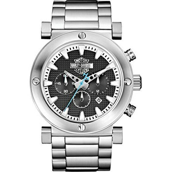 ハーレーダビッドソン Harley-Davidson Harley Davidson 腕時計 時計 Harley-Davidson Men's Bulova Grey Bar & Shield Chronograph Wrist Watch 76B166