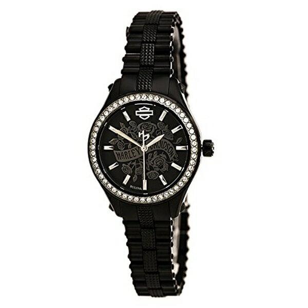 ハーレーダビッドソン Harley-Davidson Harley Davidson 腕時計 時計 Harley-Davidson Women's Flower Power Black Dial Wrist Watch. 78L118